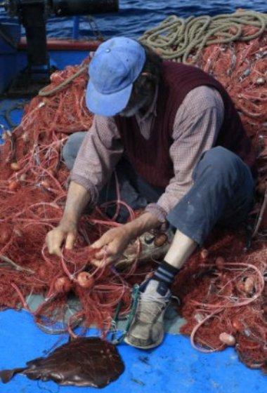 Fisherman fixing nets